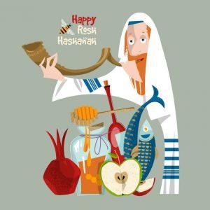 Happy Rosh Hashanah. Jewish New Year. Orthodox jewish man holds HiRes 300x300